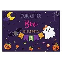 Funnytree ハロウィン 1歳の誕生日パーティー 背景幕 Our Little Boo is Turning 背景1枚 赤ちゃん 男の子 女の子 初めての誕生日 夜 パンプキン ケーキ テーブルデコレーション バナー用品 7x5フィート