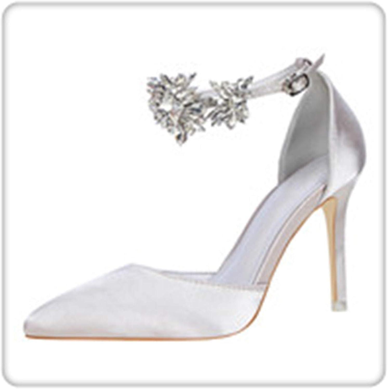 HANGGE& Elegant Rhinestone Women Pumps High Heels Silk Pointed Toe Buckle Strap Wedding