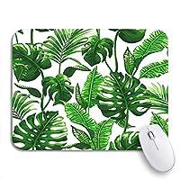 ROSECNY 可愛いマウスパッド 緑の葉の熱帯のヤシの葉抽象的な滑り止めラバーバッキングコンピューターマウスパッドのパターンジャングルノートマウスマット
