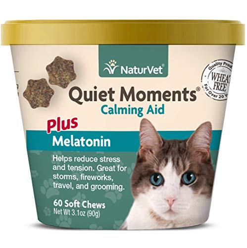 NaturVet –Quiet Moments Calming Aid for Cats Plus Melatonin – 60 Soft Chews – Helps Reduce Stress & Promote Relaxation – Great for Storms, Fireworks, Travel & Grooming