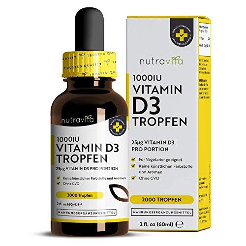 Vitamin D3 Tropfen - PREIS-LEISTUNGSSIEGER 2019 - Laborgeprüfte 1000 I.E. pro Tropfen - 60ml (2000 Tropfen) pro Flasche - In MCT-Öl aus Kokos gelöst - OHNE Zusätze - Vitamin D3 aus Deutschland