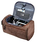 Vercord Mens Toiletry Bag Wash Travel Small Shaving Dop Kit Shower Bathroom Ditty Hygiene Bag Frosted Coffee