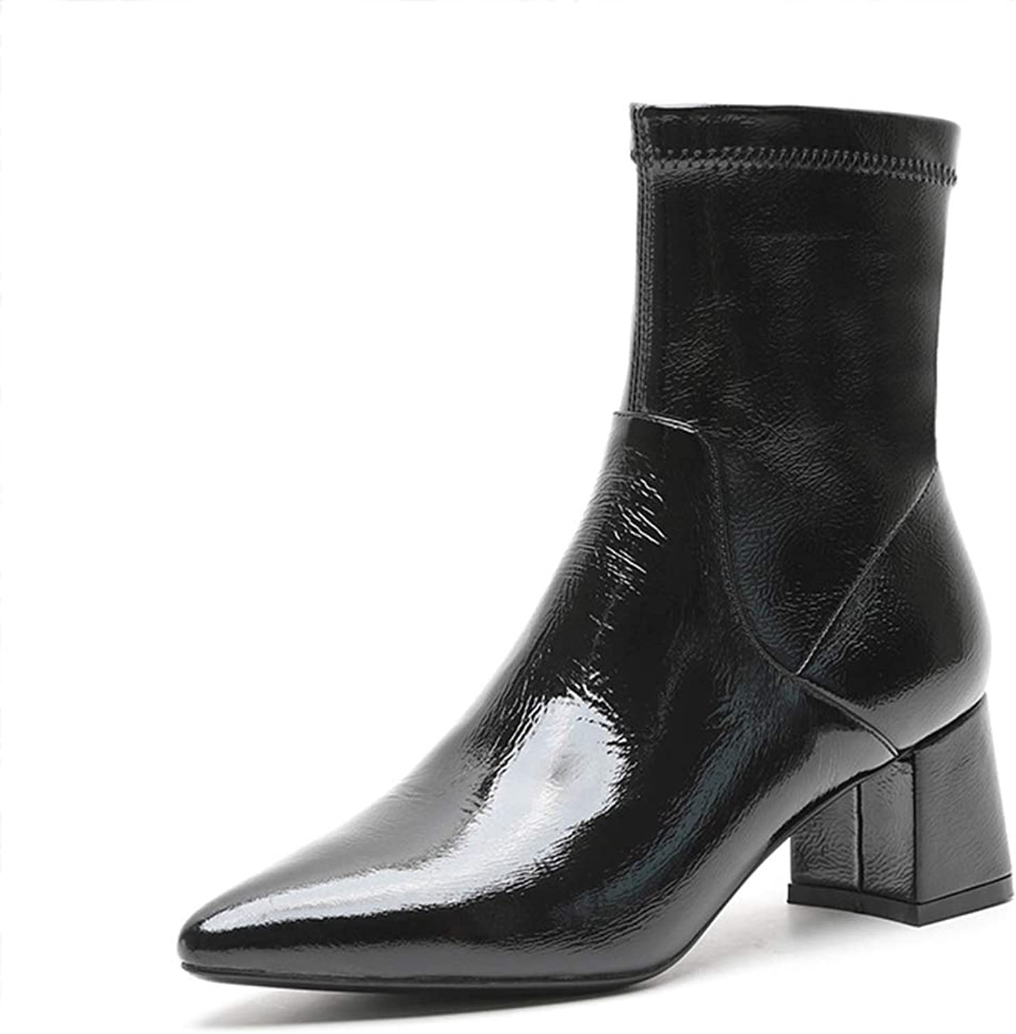 Women's Booties, Mid Tube Small Heel Martin Boots Ladies Fall Winter New Leather Wild Microfiber Fashion Boots (color   Black, Size   38)