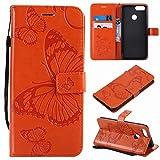 Laybomo Funda para Huawei Honor 7X Carcasa Bolsa Tapa Cuero Billetera Magnética Protector Silicona Suave TPU Flip Cover Funda para Huawei Honor 7X Avec Fente pour Carte, 3D Mariposas (Naranja)