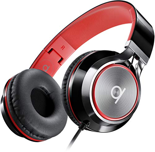 Artix Cuffie CL750 Pieghevoli con Microfono, NRGSound Cuffie Compatte, Perfette per Bambini/Adolescenti/Adulti (Nero e Rosso)