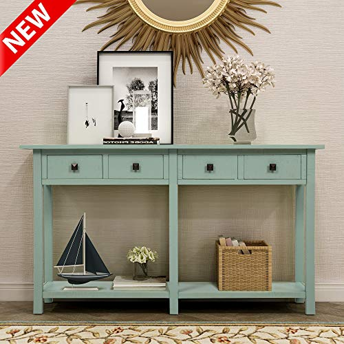 """DANGRUUT Upgrade Version Rustic Brushed Texture Entryway Console Table, Best 59"""" Thicken Hallway Sofa Table, Side Storage Cabinet, with 4 Drawers and Shelf, Wood Living Room Furniture (Tiffany Blue)"""