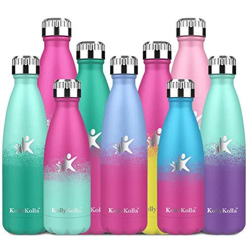 KollyKolla Botella de Agua Acero Inoxidable, Termo Sin BPA Ecológica, Botella Termica Reutilizable Frascos Térmicos para Niños & Adultos, Deporte, Oficina, (650ml Macaron Azul + Barbie Rosado)