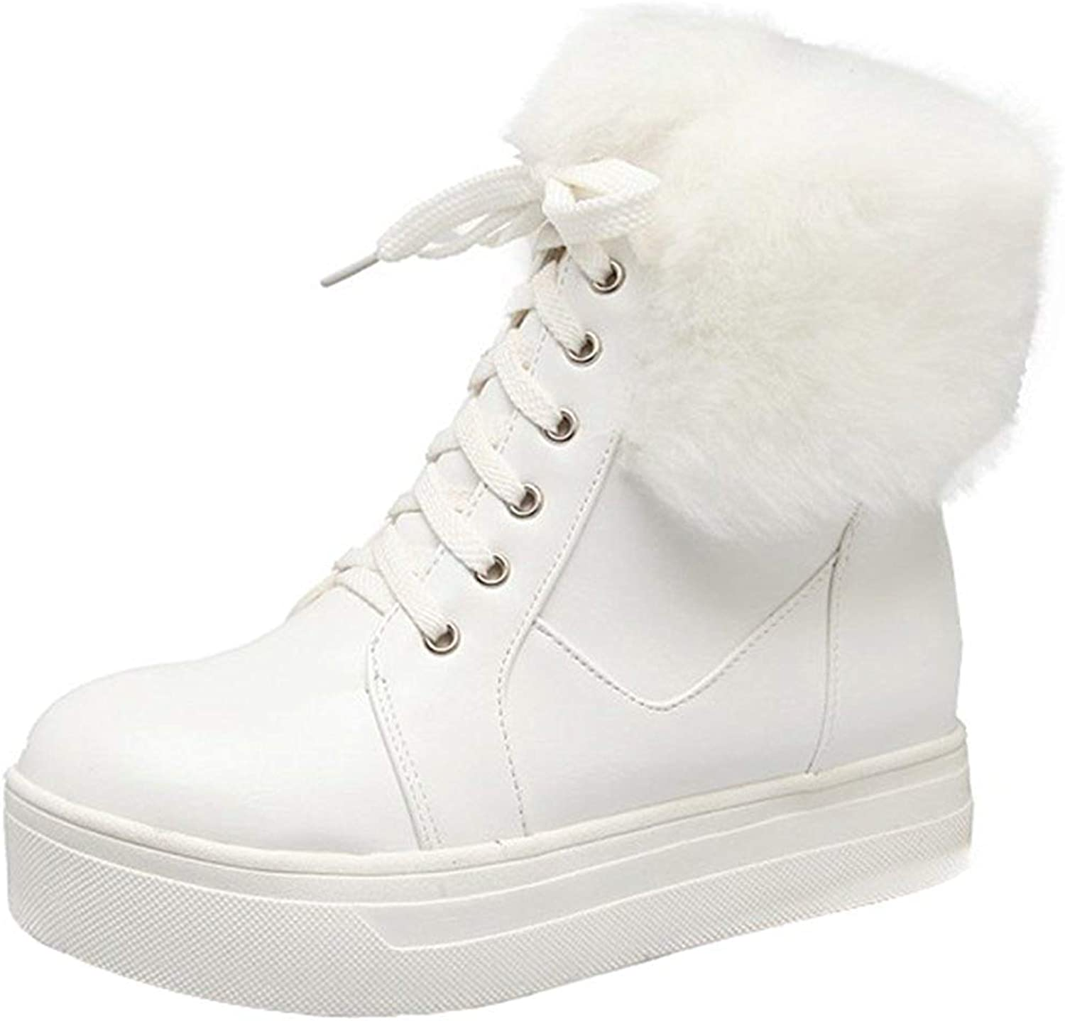 Gcanwea Women's Casual Faux Fur Folded Lace Ankle High Sneaker Booties Round Toe Platform Short Snow Boots Fashion Skinny Rubber Sole Ladies Comfortable Joker Breathable White 5 M US Snow Boots