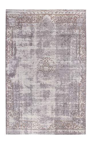 Luxor Living Kurzflorteppich, Used-Look, weich, pflegeleicht, antik, Vintage Stil, Farbe:Grau, Größe:160 x 230 cm