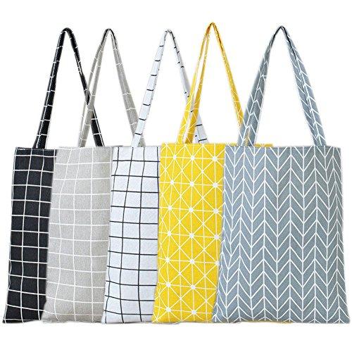 ASOSMOS Mode Frauen Umhängetasche Baumwolle Leinen Grid Gestreifte Handtasche Leinwand Handtasche Tasche Damen Mädchen Lässig Tote Taschen