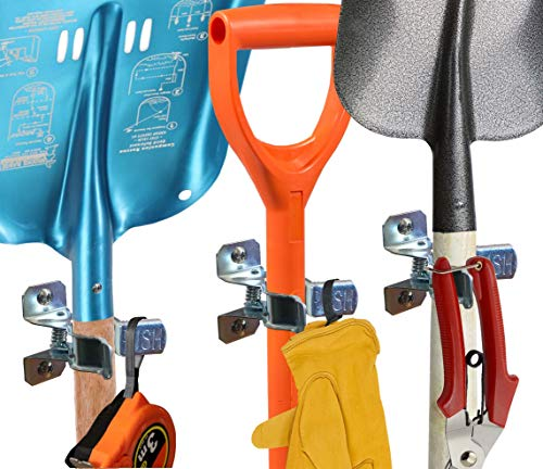 Shovel Holder Wall Mount, 10 Pack, Garden Tool Organizer for Garage, Broom Mop Holder Wall Mounted, Shovel Rack Wall Mount with Mounting Screws, Bonus 2 Garden Tool Hooks