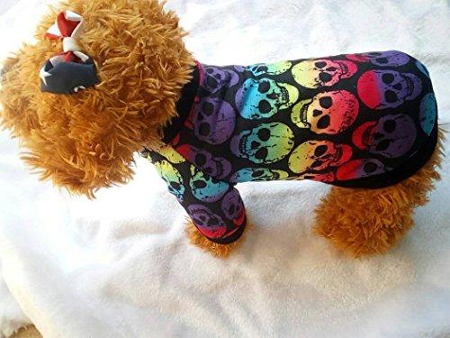 Hillento Welpen kleidet, Halloween kleine Hund Katze Haustier Kleidung Bunte Schädel Ghost Pullover Halloween Kleid