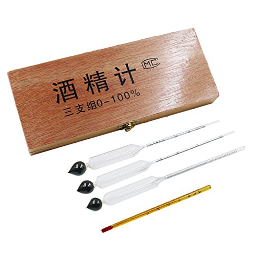 Sharplace 3-teiliges Hydrometer- / Alkoholtester-Set 0 bis 100{60ce92f908c2699082be3a0c0fcac6b92c13d1218d8ffdcbf471f287d5daaaa0} Alkoholgehalt Messgerät + Thermometer