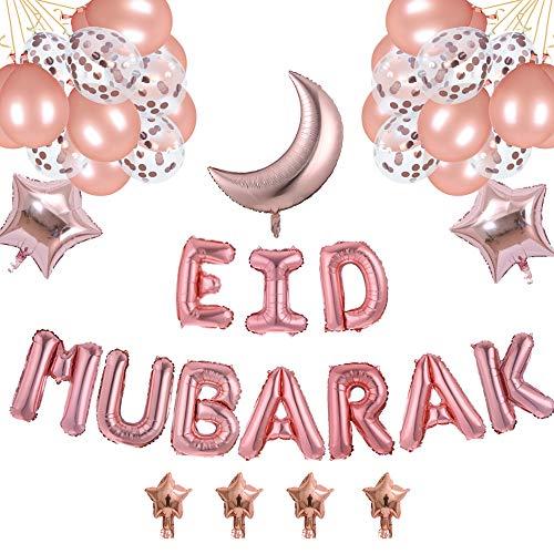 EID MUBARAK Décoration Ballon AID MOUBARAK - 38 Ballons ROSE GOLD - Ruban INCLU - 5 Tailles De Ballons Pour Une Fête Après Ramadan Inoubliable Pour les Adultes Comme Pour les ENFANTS