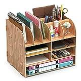 Organiseur Bureau Bois,Lesfit Set De Rangement Bureau Design,Organisateur De Bureau Multifonction Pour Stylo Crayon A4 Papier Accessoire (32*24*27cm)