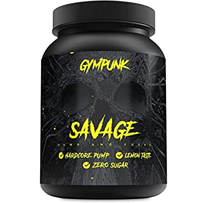 Gympunk Savage 500g Powder, Pre-Workout Booster for Maximum Pump and Focus, with Citrulline Malate, Beta Alanine and AAKG, Lemon Flavour