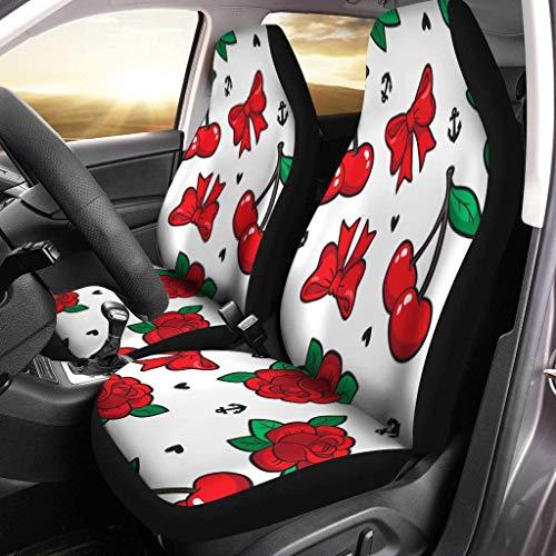 Old School Rose Cherry Bow Parches y alfileres Juego de 2 fundas para asientos de automóvil Asientos delanteros Solo para automóviles Manta de sillín delantero Ajuste universal para vehículos Sedan S