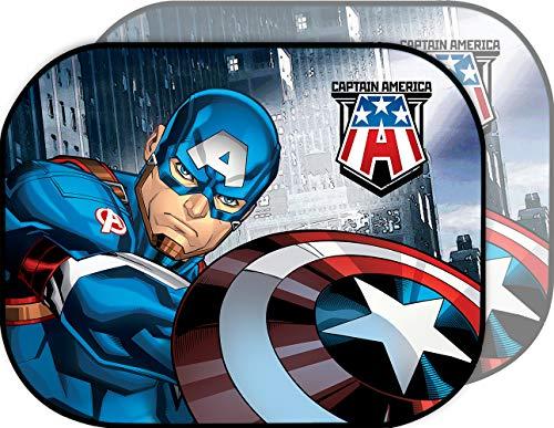 Marvel Captain America Suns Coppia di Tendine Laterali Parasole Auto Captain America Capitan Bambino Supereroi, Blu, Unica