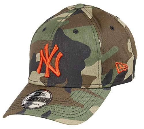New Era New York Yankees 9forty Adjustable Cap MLB Rear Logo Woodland Camo/Orange - One-Size
