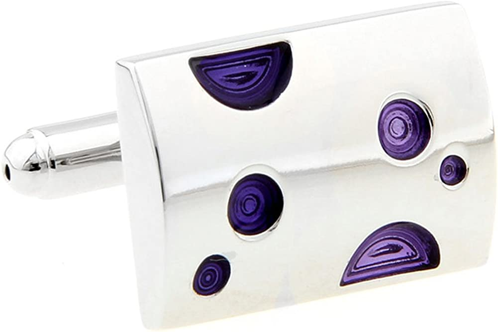 Williams and Clark Men's Executive Cufflinks Siver Bar with Crazy Purple Dots Fun Unique Cuff Links