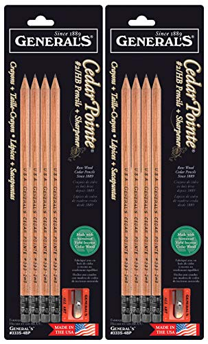2-Pack Bundle - General Pencil Cedar Pointe #2/HB 4PK with Sharpener (Total of 8 Pencils Plus 2 sharpeners)
