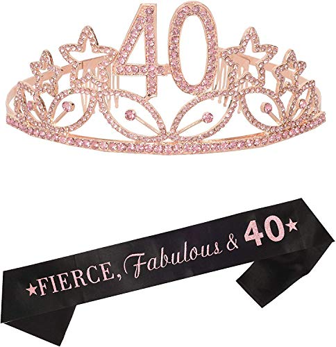 40th Birthday Gifts for Women, 40th Tiara and Sash Pink, Happy 40th Birthday Party Supplies, Fierce, Fabulous & 40 Satin Sash and Birthday Crown for 40th Birthday Party Supplies and Decorations