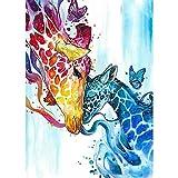 5D Diamond Painting Diamant Malerei Painting Bilder, Wowdecor Bunt Giraffe Familie Schmetterling Tiere Full Set Groß DIY Diamant Gemälde Malen Nach Zahlen
