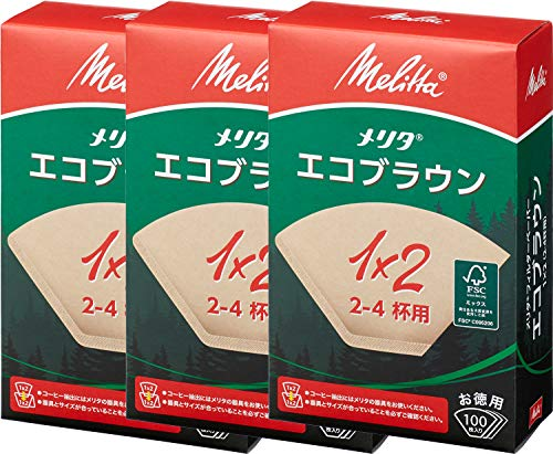 メリタ Melitta コーヒー フィルター ペーパー 2~4杯用 1×2 用 100枚入り ×3個 セット エコブラウンシリーズ ブラウン