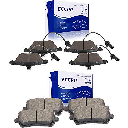 Brake Pads, ECCPP 8pcs Ceramic Disc Brake Kits fit for 2005-2011 Audi A6 Quattro, 2004-2009 Audi S4