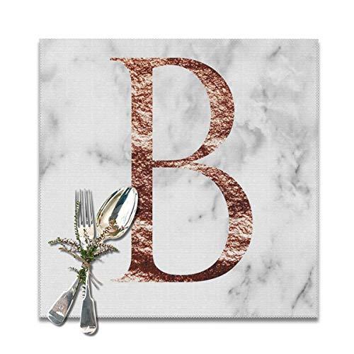 Rterss Placemats Placemat eettafel wasbaar zacht en kreuken gratis tafelmatten Monogram Rose marmer B (6 stuks) op maat