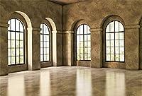 新しい10x7ftのリビングルームのインテリアの背景モダンな明るいインテリアの大きなアーチ窓写真の背景家と家のデザイン新しいライフスタイルのビデオ会議の装飾写真撮影の小道具
