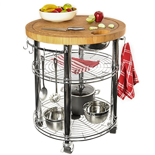 Seville Classics Rolling Solid-Bamboo Butcher Block Top Kitchen Island Cart with...
