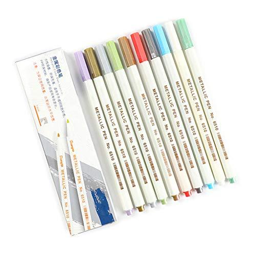 PING 10/12/15/20/30 Colores Metálicos Micron Pen Detalle Metal Pintura Maker DIY Álbum Dibujo Escuela Arte Suministros