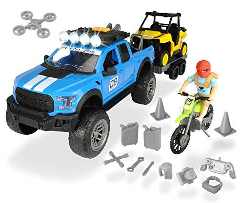 Dickie Toys 203838003 - Playlife Offroad Set, Ford Raptor Geländewagen mit Quad und Motorrad