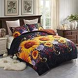 JML Fleece Blanket, 3- Pieces Sherpa Blanket - Super Soft Warm, Korean Style Reversible Printed Winter Borrego Blanket (Black/Yellow Sunflower, King(79'x91'))