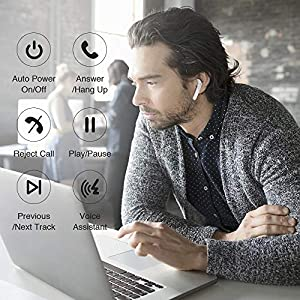 Wireless Earbuds Bluetooth 5.0 Headphones Stereo Bass Bluetooth Earbuds CVC6.0 True Wireless Earbuds 24H Playtime with Charging Case Built-in Mic Compatible for Airpods iOS, Andriod