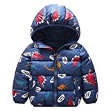 Baby Boy Puffer Jacket Kids Hoodie Coat Girl Thick Warm Winter Coat Dinosaur Blue 1-2 Years