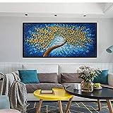 RTCKF Textura de Pintura de Arte Moderno Flor de Estrella púrpura Pintura al óleo Arte Flor Colgante preparada para decoración de Pared (sin Marco) A2 35x70 cm