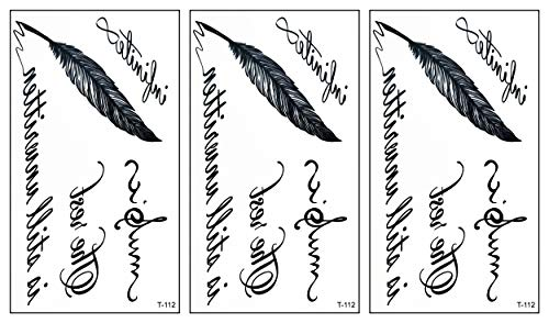 PARITA Small Tattoos 3D Quill feather quotes letters Temporary Tattoo Sticker For Teens Kids Men Black Body Art Arm Fake Tattoos Waterproof Men Women Sexy Party Favors and Decorations (Pack 3 PCS.)