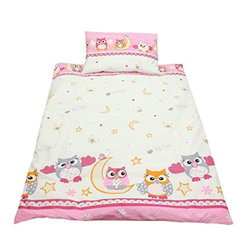 TupTam Kinderbettwäsche Gemustert 2 teilig, Farbe: Eulen 2 Rosa, Größe: 135x100 cm