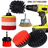 Drill Brush Attachment Set, QUIENKITCH 9PCS/Set Drill Brush Power Scrubber Attachments with Drill Scrub Pads & Ultra Stiff Cone Brush for Grout,Tiles,Sinks,Bathtub,Bathroom,Shower,Auto,Carpet,Grill