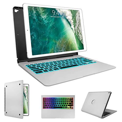 Keyboard Case for iPad Pro 12.9-2017(2nd Gen), 2015(1st Gen) 12.9, 7 Colors Backlit Wireless Keyboard Auto Wake/Sleep, Back Hard Keyboard Cover, Ultra Slim (Silver, 12.9 inch)