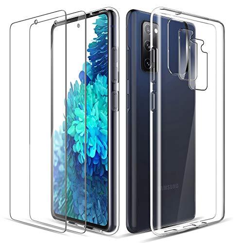LK Kompatibel mit Samsung Galaxy S20 FE 4G/5G Hülle, 2 Bildschirmschutz Schutzfolie und 2 Kamera Schutzfolie, 9H HD Klar Bildschirmschutz Blasenfrei, Weiche TPU Silikon Hülle Cover - Transparent