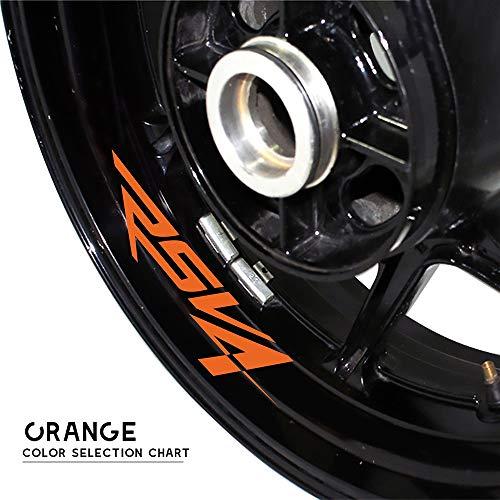 Zhangenlian- Rueda neumático de la Motocicleta Pegatinas Reflectantes de Gaza Calcomanías Personalizado Decorativo Pegatinas for Aprilia RSV4 (Color : Orange)