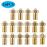 16 ugelli M6 estrusori per stampante 3D, 7 diverse misure, 0,2 mm, 0,3 mm, 0,4 mm, 0,5 mm, 0,6 mm, 0,8 mm, 1,0 mm, per stampante 3D E3D V5 V6