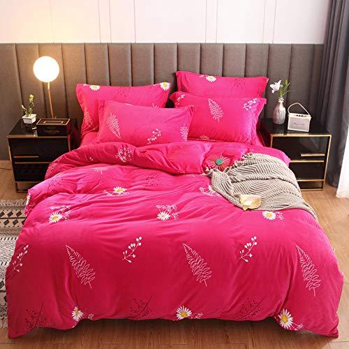 yaonuli Vierteiliges warmes Set aus Fettpunkten mit Kristall-Samt-Aufdruck und 1,5 m breitem Bett