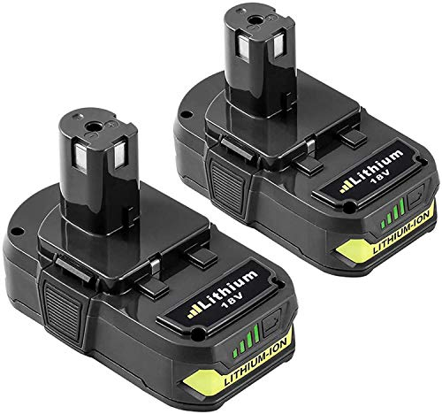 2-Pack 3.0Ah Replacement for Ryobi 18V Lithium Battery Compatible with Battery 18V Lithium ONE+ P104 P105 P102 P103 P107 Cordless Tools