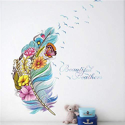 muxiao Wandtattoo, Wandaufkleber Blume 3D Schmetterling, Federpflanzen, Wohnzimmer, Kindergarderobe, Küche, Kleiderschrank, Halle, Fenster, Dekoration Typ A.