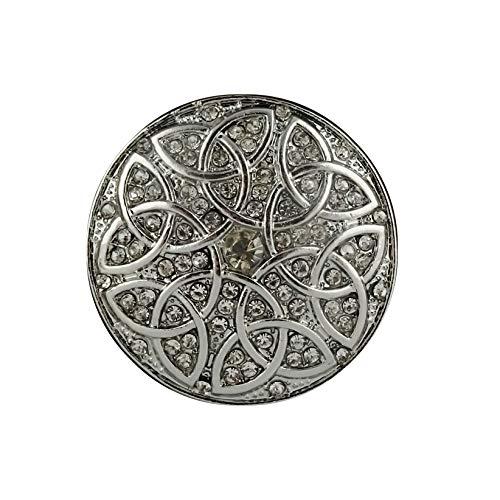 Magnetbrosche, Clip, Schmuckanhänger, Tuchhalter mit keltischem Knoten und Glitzersteinen, rund, 33mm