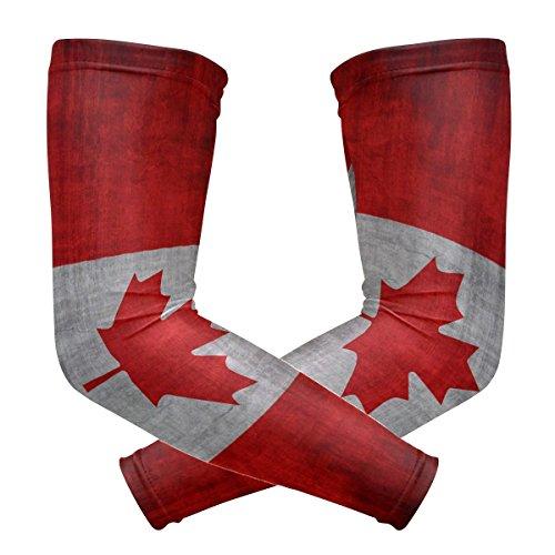 ZKKO Kanada Flag Kühlarm-Ärmel-Abdeckung UV-Schutz für Männer Frauen Laufen Golf Radfahren Arm Warmer Sleeves 1 Paar